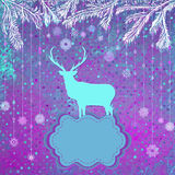 Christmas deer tempate card. EPS 8 Stock Photos