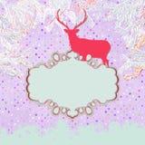 Christmas deer tempate card. EPS 8 Royalty Free Stock Image