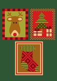 Christmas deer, tree and a sock Royalty Free Stock Image