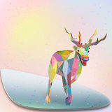 Christmas Deer trendy hipster style geometric shap Royalty Free Stock Photo