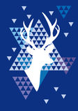Christmas deer with triangle pattern, vector Royalty Free Stock Photography