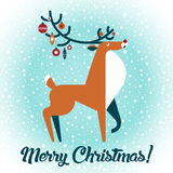 Christmas deer. Vector illustration. New Year card. Stock Images