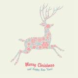Christmas deer vintage card Stock Photo