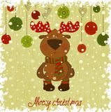 Christmas deer whith freezing pattern Royalty Free Stock Photography