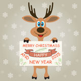Christmas deer wishes Merry Christmas and Happy New Year. Christmas deer Santa Claus on a gray background with snowflakes Royalty Free Stock Photos