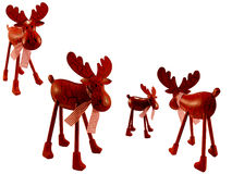 Christmas deers. Several christmas deers on white background Stock Images