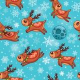 Christmas deers in cartoon seamless pattern Royalty Free Stock Photo