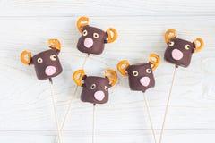 Christmas deers. Homemade sweetness made with marshmallow, chocolate, pretzel Stock Image