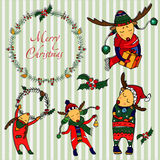 Christmas deers set Stock Images