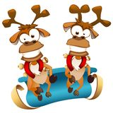 Christmas deers with sledge Royalty Free Stock Photo