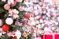 Christmas defocus bokeh. Beauty christman tree and ball with defocus bokeh Royalty Free Stock Photo