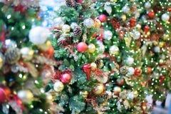 Christmas defocus bokeh. Beauty christman tree and ball with defocus bokeh Stock Photos