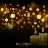 Christmas defocused background with snow and candle. Vector.  Royalty Free Stock Photos