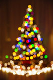 Christmas Defocused Lights, Xmas Tree, Blurred Holiday Abstract Royalty Free Stock Photography