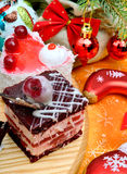 Christmas delicious cakes on christmas background Stock Photography