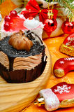 Christmas delicious cakes on christmas background, christmas bal Stock Images