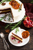 Christmas delicious chocolate cake stock photography