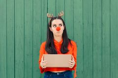 Christmas Delivery Girl Holding Many Packages. Woman holding cardboard gift boxes ready for Xmas stock photo