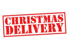 CHRISTMAS DELIVERY. Red Rubber Stamp over a white background Stock Image