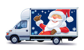 Christmas delivery truck vector illustration