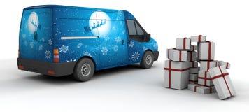 Christmas delivery van Stock Photo