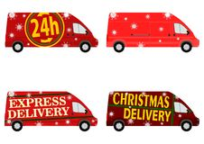 Christmas delivery van set Royalty Free Stock Image