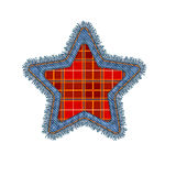Christmas Denim Patch. Christmas Star Shape Vector Photo Realistic Torn Denim Patch  On White. Seasonal Holiday Decoration Royalty Free Stock Image