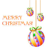 Christmas design. Merry christmas illustration with new year balls: design elements ready for your text Stock Image
