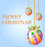 Christmas design. Merry christmas illustration with new year balls: design elements ready for your text Royalty Free Stock Image