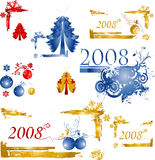 Christmas design. Collection of shiny Christmas balls; design elements ready for your text Stock Photo