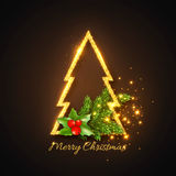 Christmas design, abstract gold fur-tree Stock Photos