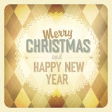 Christmas Design On Argyle Background. Stock Photos
