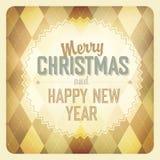 Christmas Design On Argyle Background. Stock Photos