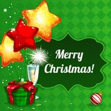 Christmas Design. Christmas background with gifts, balloons and champagne Stock Image