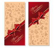 Christmas banners set. Christmas design. Christmas banners set with greeting inscription - Merry Christmas. Festive red and beige background with design elements Royalty Free Stock Image