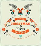 Christmas design with birds, elements and deer Royalty Free Stock Photos