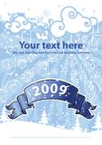 Christmas design on the blue background. Royalty Free Stock Image