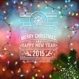 Christmas design. Bokeh background with garland. And lettering design. Vector illustration Royalty Free Stock Image