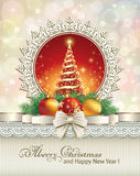 Christmas design with Christmas tree. On decorative background Royalty Free Stock Images