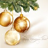 Christmas design with classic baubles hand on a fir tree branch Stock Photo