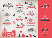 Christmas design collection, lettering and typographic elements Stock Image