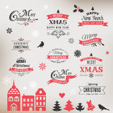 Christmas design collection, lettering and typographic elements Royalty Free Stock Image