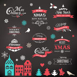 Christmas design collection, lettering and typographic elements Stock Images