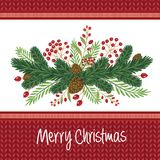 Christmas design composition of poinsettia, mistletoe, fir branc. Hes, cones, holly and other plants. Cover, invitation, banner, greeting card. Vector Stock Photo