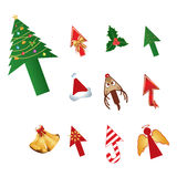 Christmas design cursors Royalty Free Stock Photography