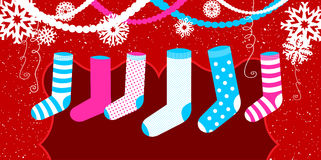 Christmas design element with socks for presents Royalty Free Stock Photos