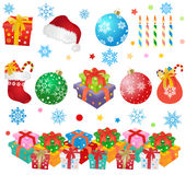 Christmas design elements. Christmas gift boxes, balls, candles, sock, santa hat -  vector illustration Stock Photos