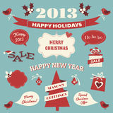 Christmas Design Elements. A set of Christmas design elements in blue , red and white Vector Illustration