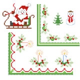 Christmas design elements. Christmas green design elements, embroidery Royalty Free Stock Photography