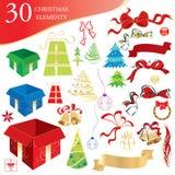 Christmas design elements. Set of 30 Christmas design elements, vector illustration Stock Photography